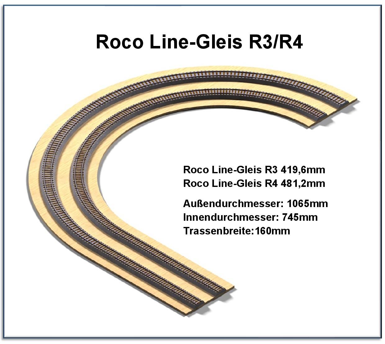 Roco line H0 42424 gebogenes Gleis R4  481,2 mm 30° 10 Stück s.Foto o.OVP WH6684